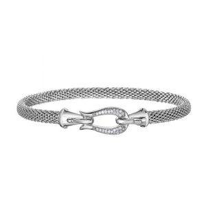 Sterling Silver Horse bit Mesh Bracelet with diamo